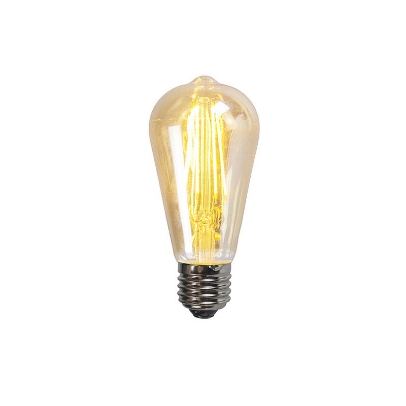 Set van 3 E27 dimbare LED filament smoke lamp ST64 5W 450 lumen 2200K