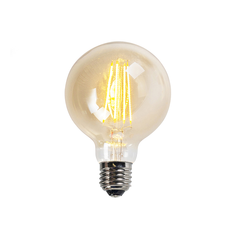 Set van 3 E27 dimbare LED Filament lampen goldline G95 5W 450LM 2200K