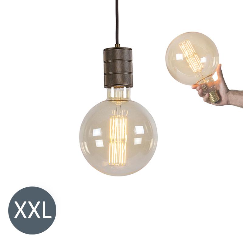 Hanglamp brons Megaglobe met dimbare LED lamp