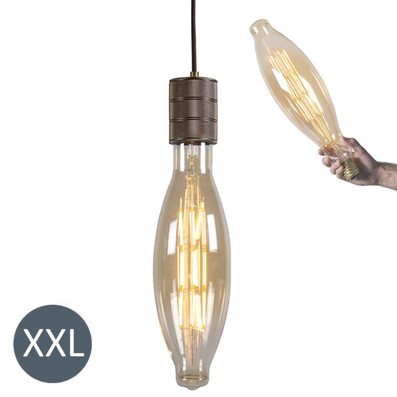 Hanglamp Elips brons met dimbare LED lamp