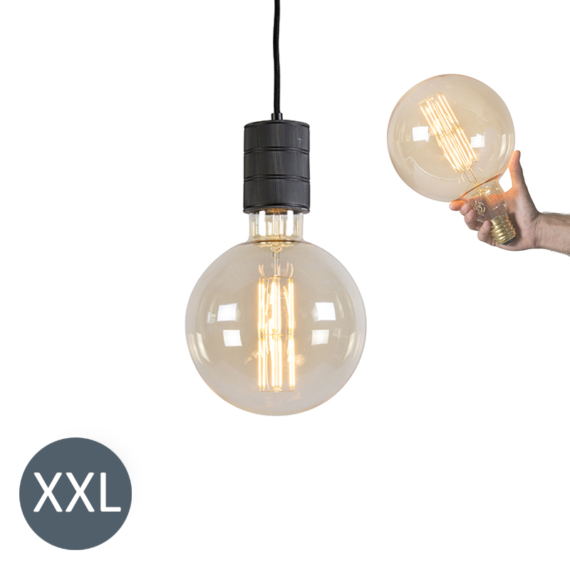 Hanglamp Megaglobe zwart met dimbare LED lamp