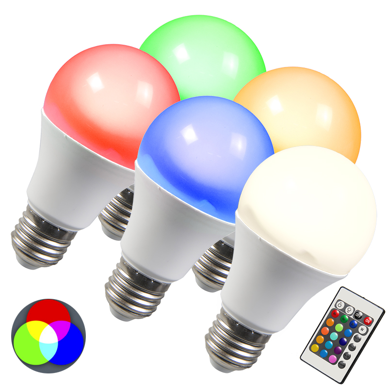 LED lamp RGB E27 10W extra warm wit set van 5