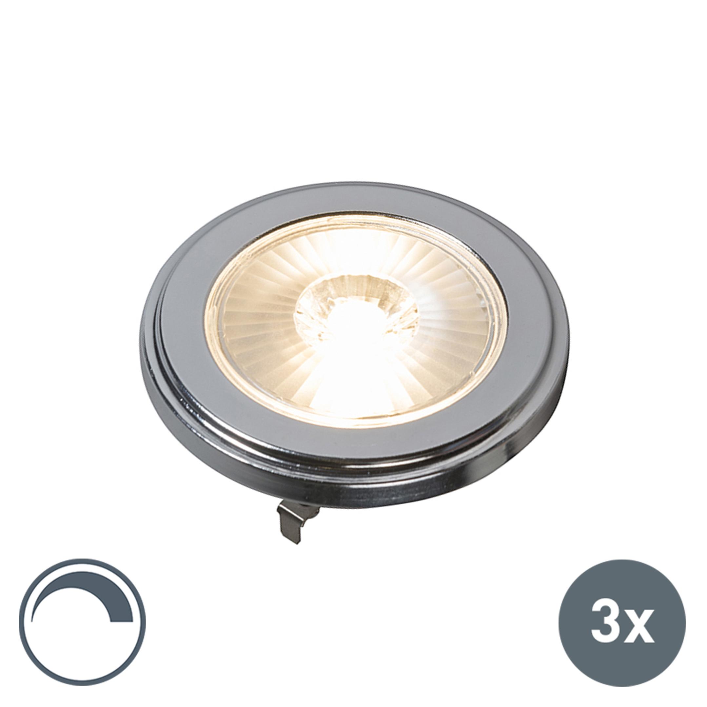 G53 AR111 LED lamp 10W 800LM 3000K dimbaar set van 3