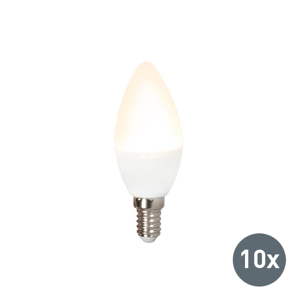Set van 10 LED lamp C37 E14 3W 3000K