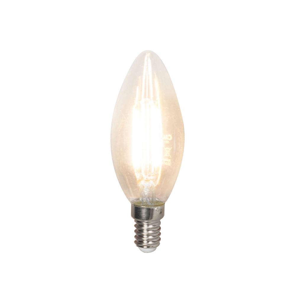 Set van 10 LED filament kaarslamp E14 240V 3,5W 350lm B35 dimbaar