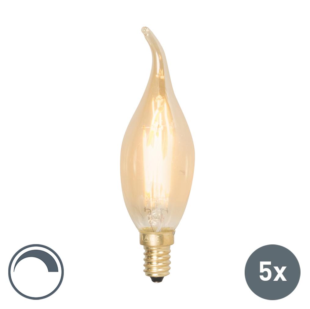 Set van 5 E14 dimbare LED filament tipkaarslampen 200lm 2100K