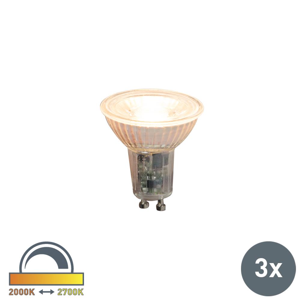 Set van 3 LED lamp GU10 240V 5.5W 360lm Dim to Warm