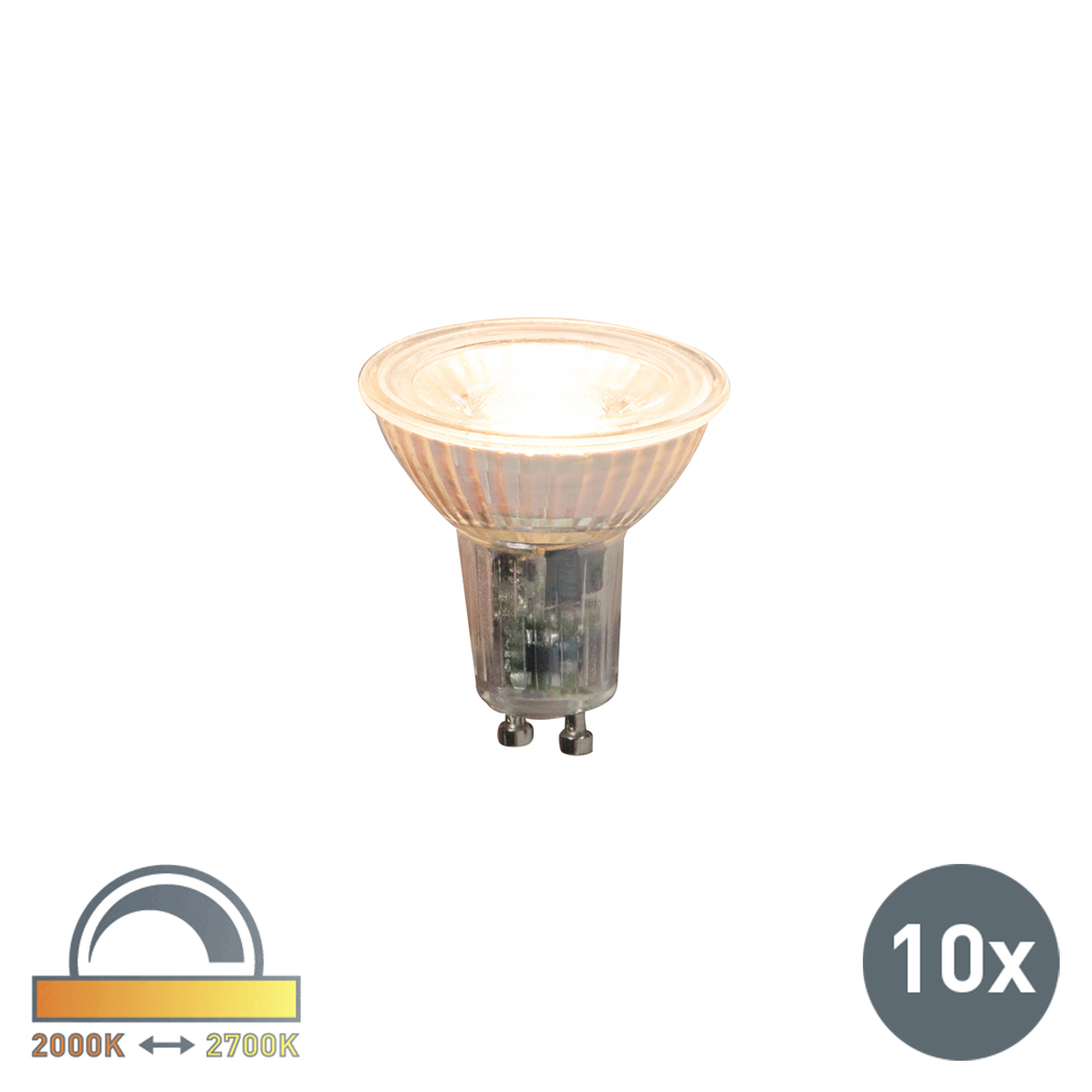 Set van 10 LED lamp GU10 240V 5,5W 420lm Dim to Warm