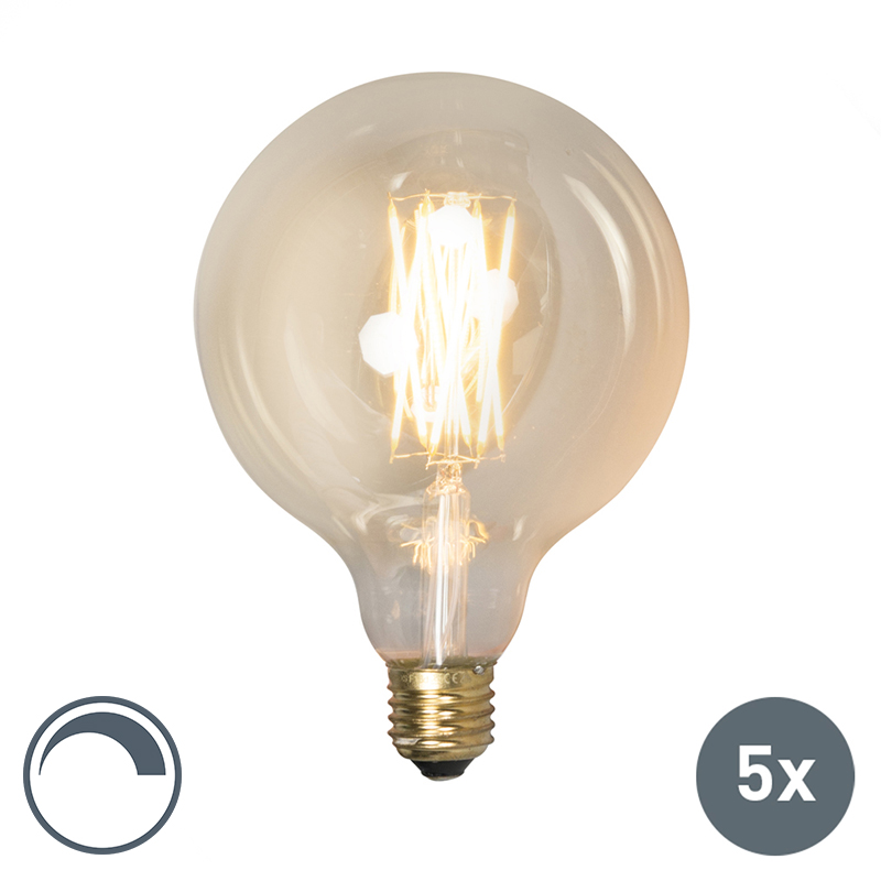 Set van 5 LED filament lamp G125 E27 4W dimbaar