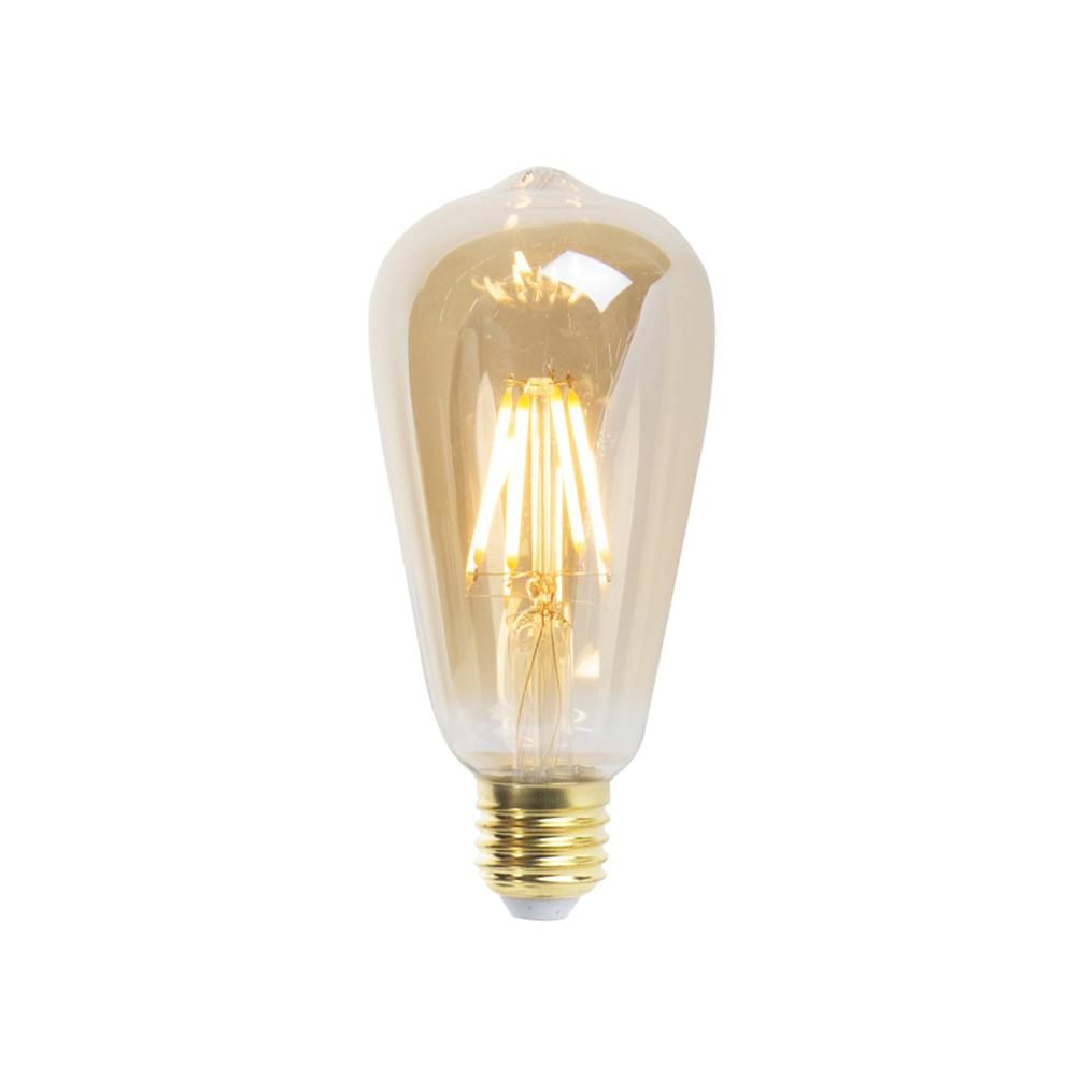 Set van 5 E27 dimbareLED filament lampen ST64 goldline 5W 360 lm 2200K