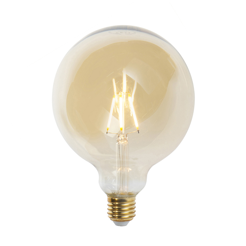 Set van 5 E27 dimbare LED filament lampen G125 goldline 2200K