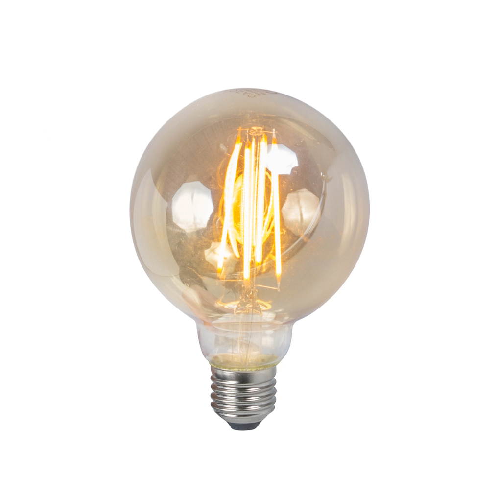 Set van 3 LED filament lamp E27 5W 2200K G95 smoke dimbaar