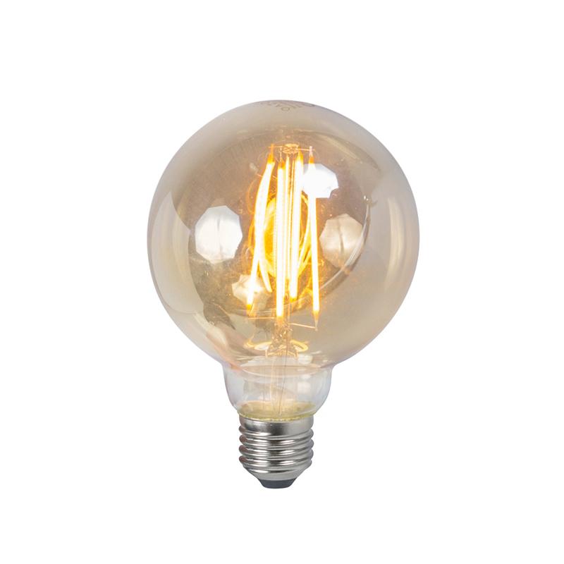 Set van 5 E27 dimbare LED filament smoke lamp 5W 450lm 2200K