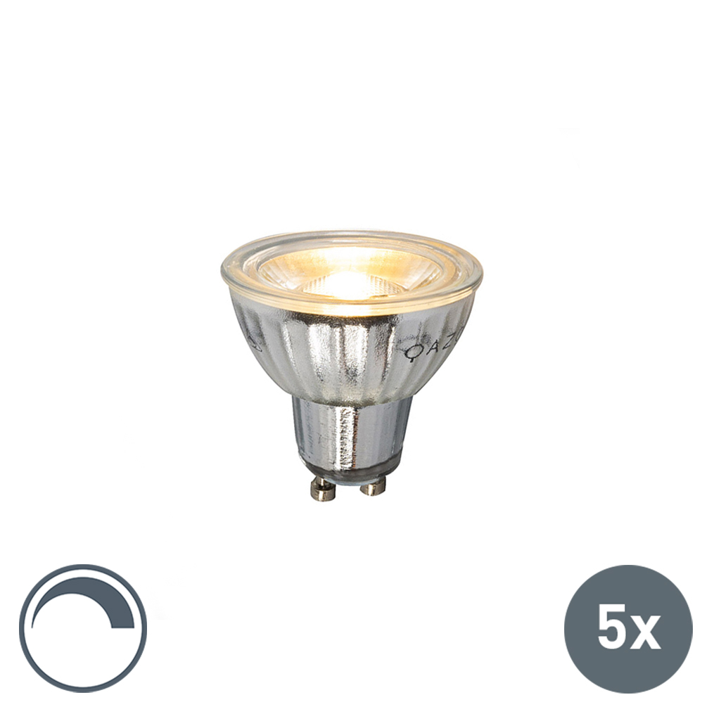 Set van 5 GU10 LED lamp 230V 5W 380LM 2700K dimbaar