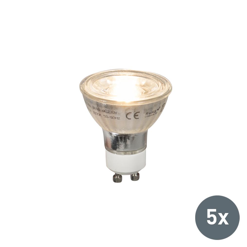 Set van 5 GU10 LED lamp COB 5W 380LM 2700K