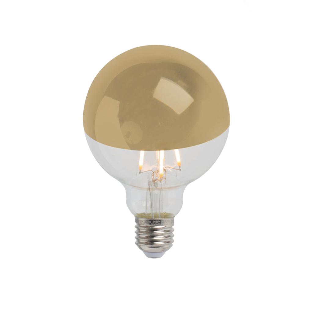 Set van 3 E27 dimbare LED kopspiegel G95 goud 280lm 2300K
