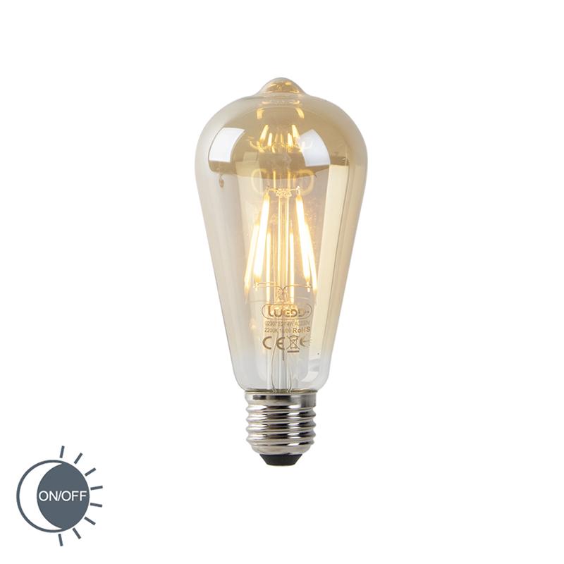 Żarówka LED E27 ST64 4W 2200K złota filament czujnik zmierzchu