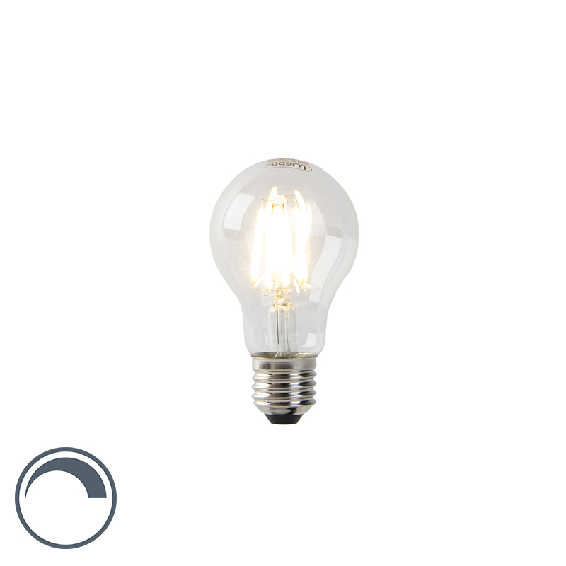 Żarówka LED E27 A60 7W 2700K filament przezroczysta ściemnialna