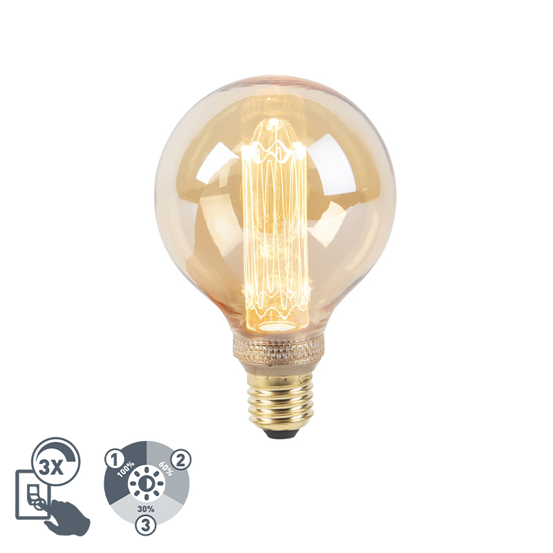 Lampa LED G95 E27 5W 1800K bursztynowa 3-stopniowa ściemnialna