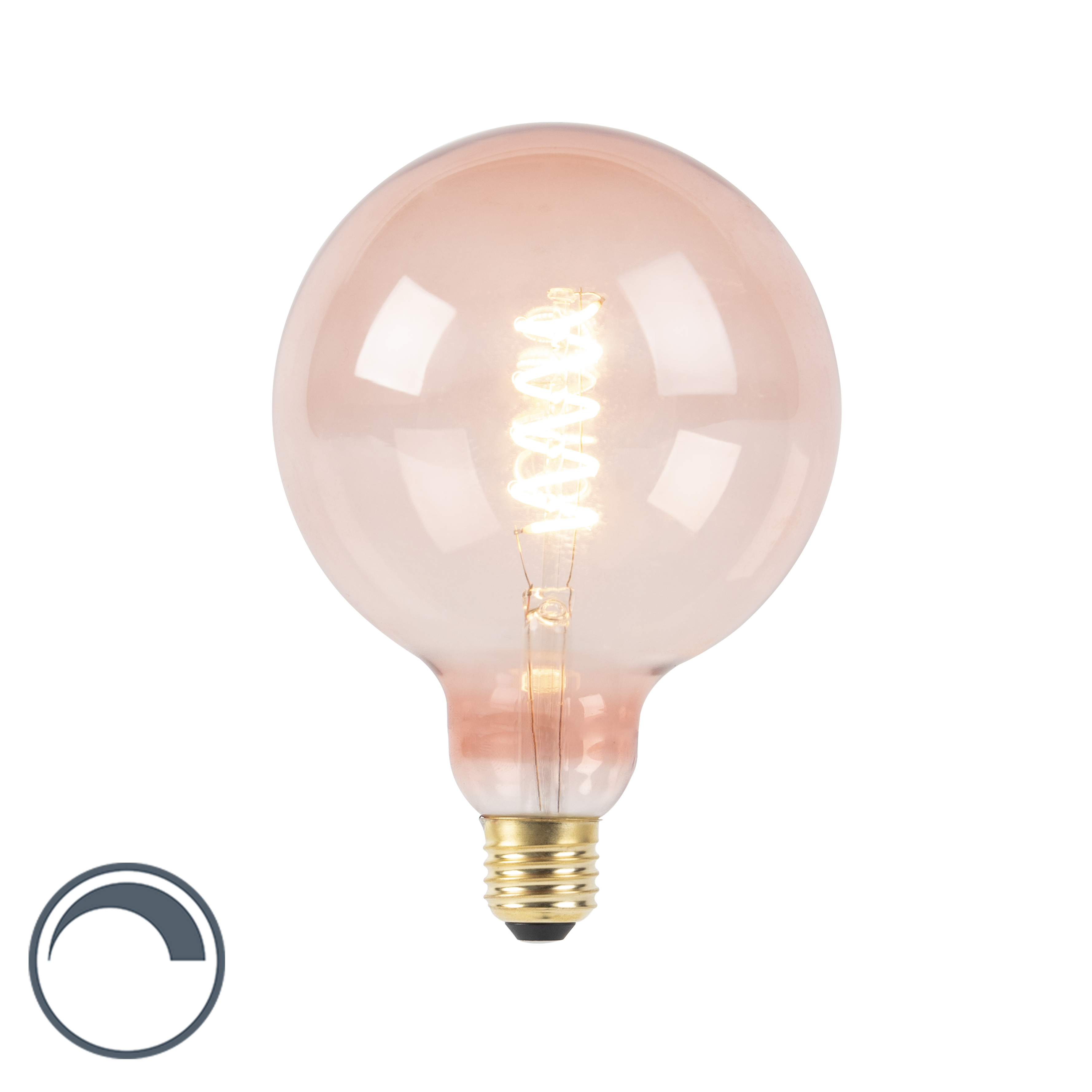 Żarówka LED E27 G125 spira filament różowa 200lm 2100K ściemnialna