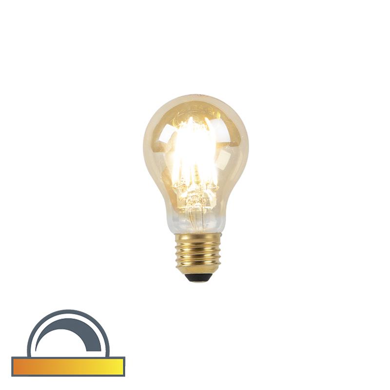 Lámpara LED E27 A60 8W 2000-2600K tenue a cálido filamento dorado