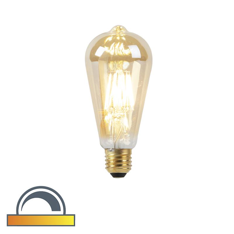 Lampa LED E27 ST64 8W 2000-2600K ściemniana na ciepły złoty żarnik