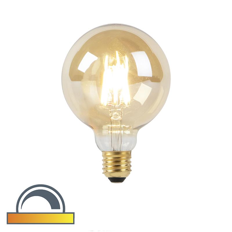 Żarówka LED E27 G95 8W 2000-2600K złota filament ściemnialna