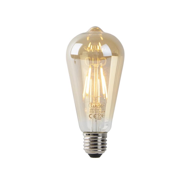 Set van 3 LED filament ST64 2200K goud met licht-donker sensor