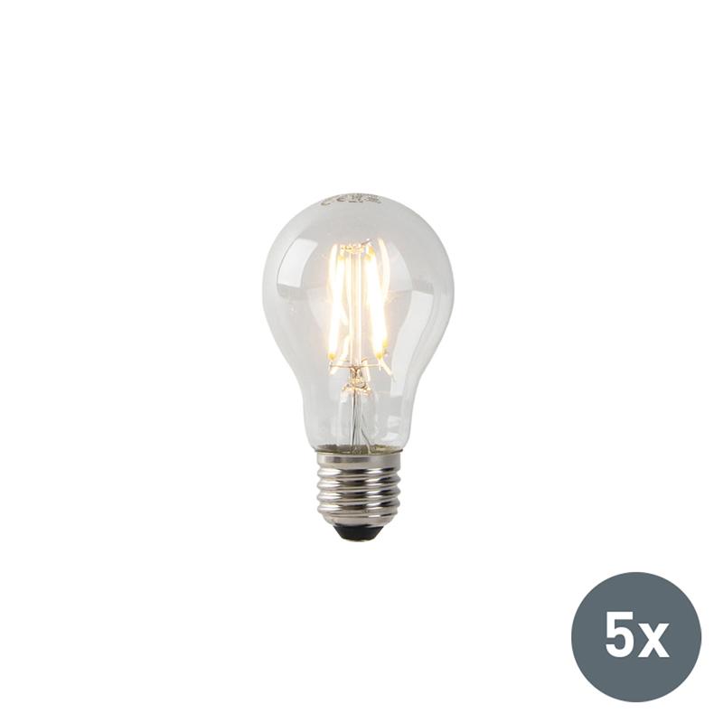 Zestaw 5 x żarówka LED E27 A60 3W 2200K filament przezroczysta