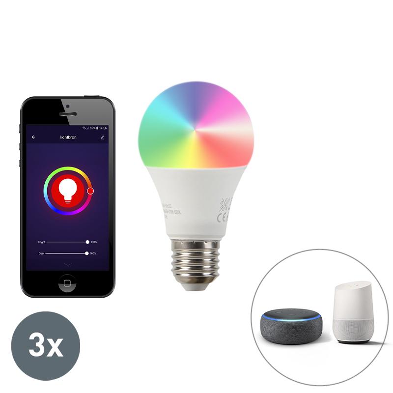 Set Van 3 E27 Dimbare Led Lamp Wifi Smart Met App 9w 806lm 2700-6500k Dimbaar
