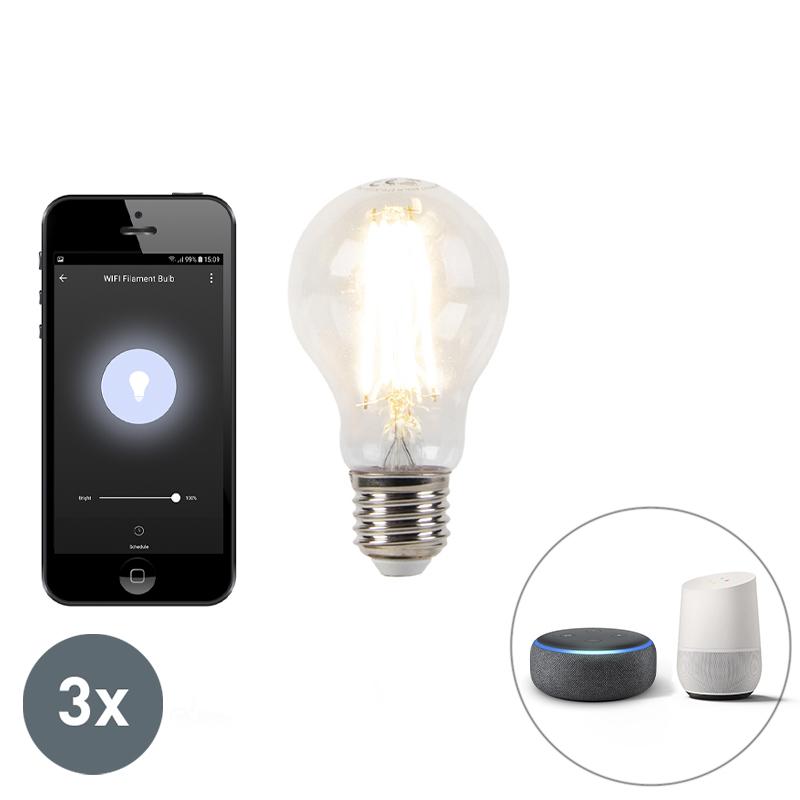Set van 3 E27 dimbare LED lamp Wifi Smart met app 7W 800lm 2700K