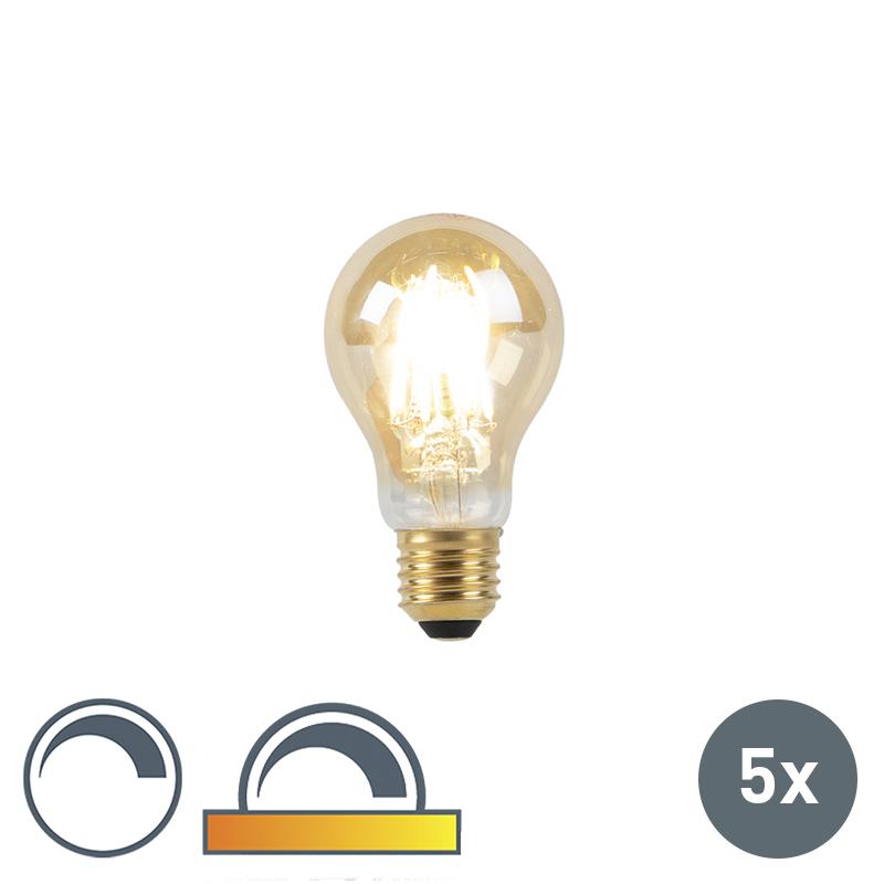 Set van 5 E27 LED lamp 8W 2000-2600K dim to warm goldline filament