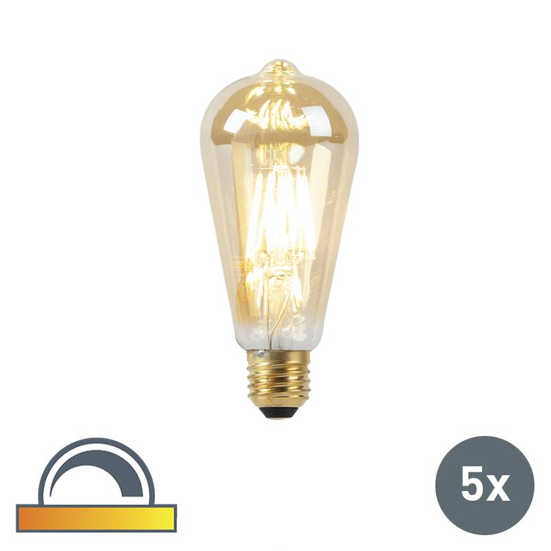 Zestaw 5 żarówek LED E27 8W 2000-2600K ściemnialna regulowana barwa światła