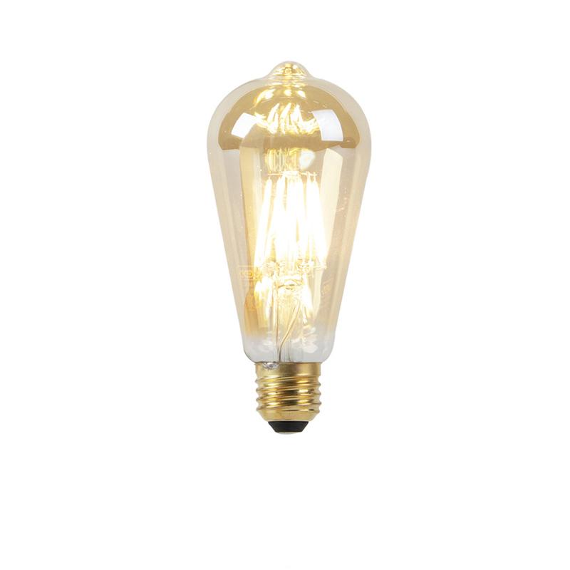 Set van 5 E27 LED lampen 8W 2000-2600K dim to warm goldline filament