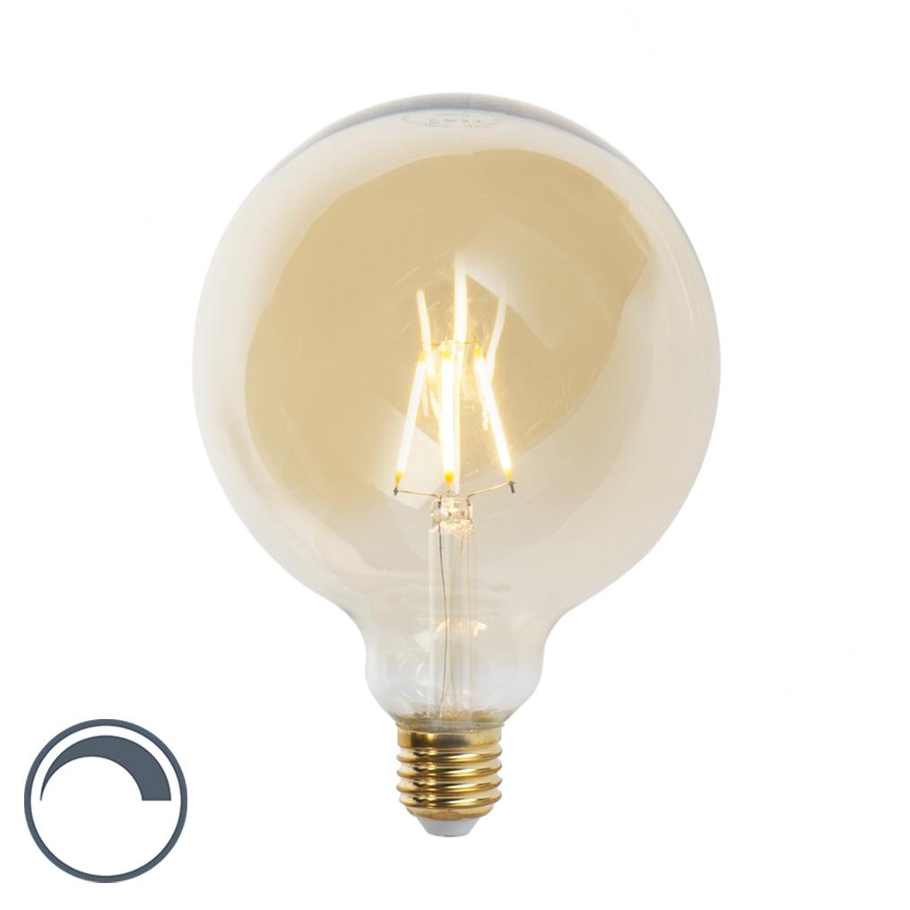 Żarówka LED E27 G125 5W 360lm 2200K złota filament ściemnialna