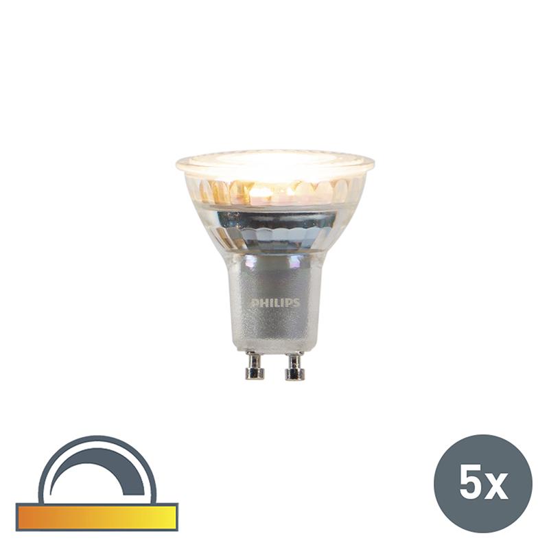 Set van 5 GU10 Philips LED lampen 4,5W 245 lm dimbaar in Kelvin
