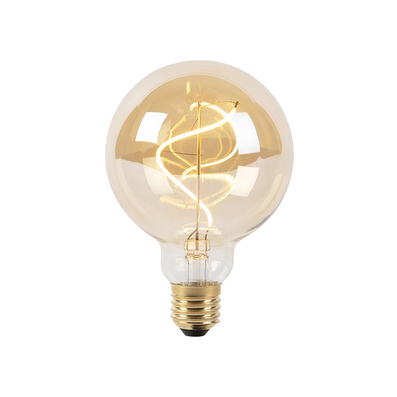 Set van 5 E27 dimbare LED spiraal filament lampen G95 goldline