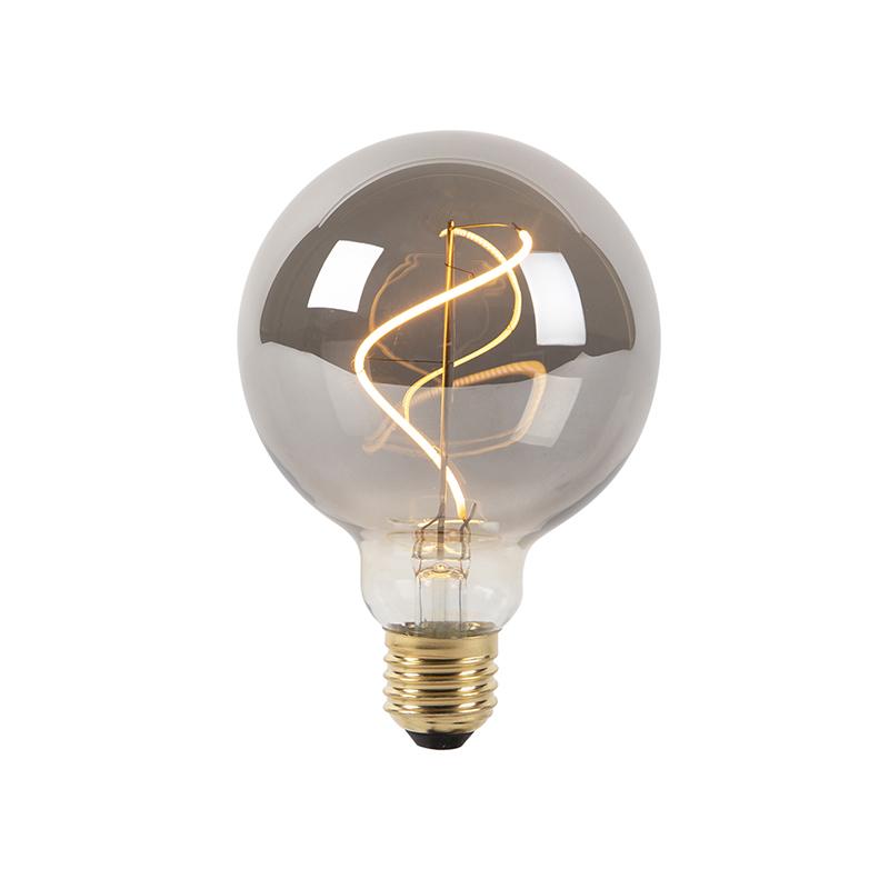 Set van 5 E27 dimbare LED filament lampen smoke G95 2100K