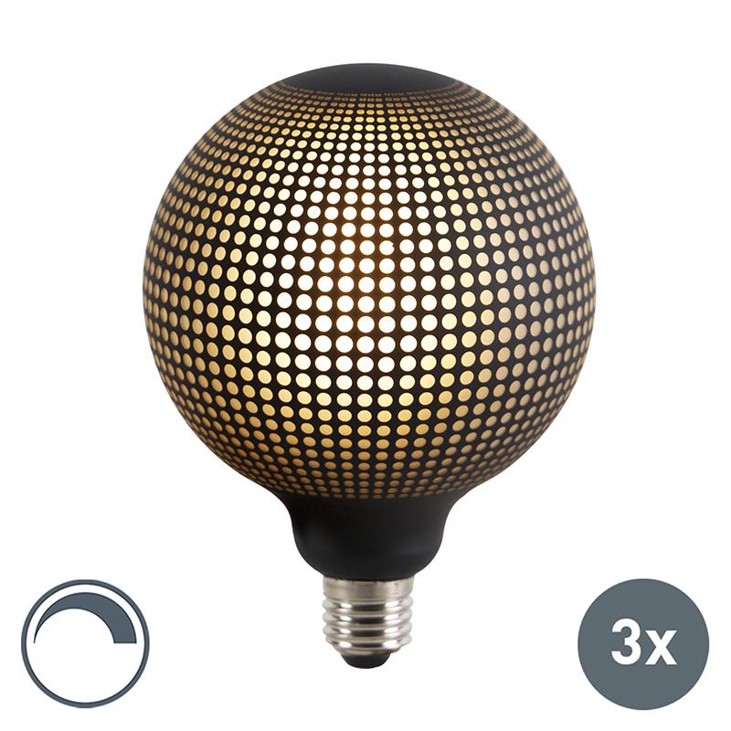 Set van 3 E27 dimbare LED globe lampen DECO 4W 100 lm 2700K