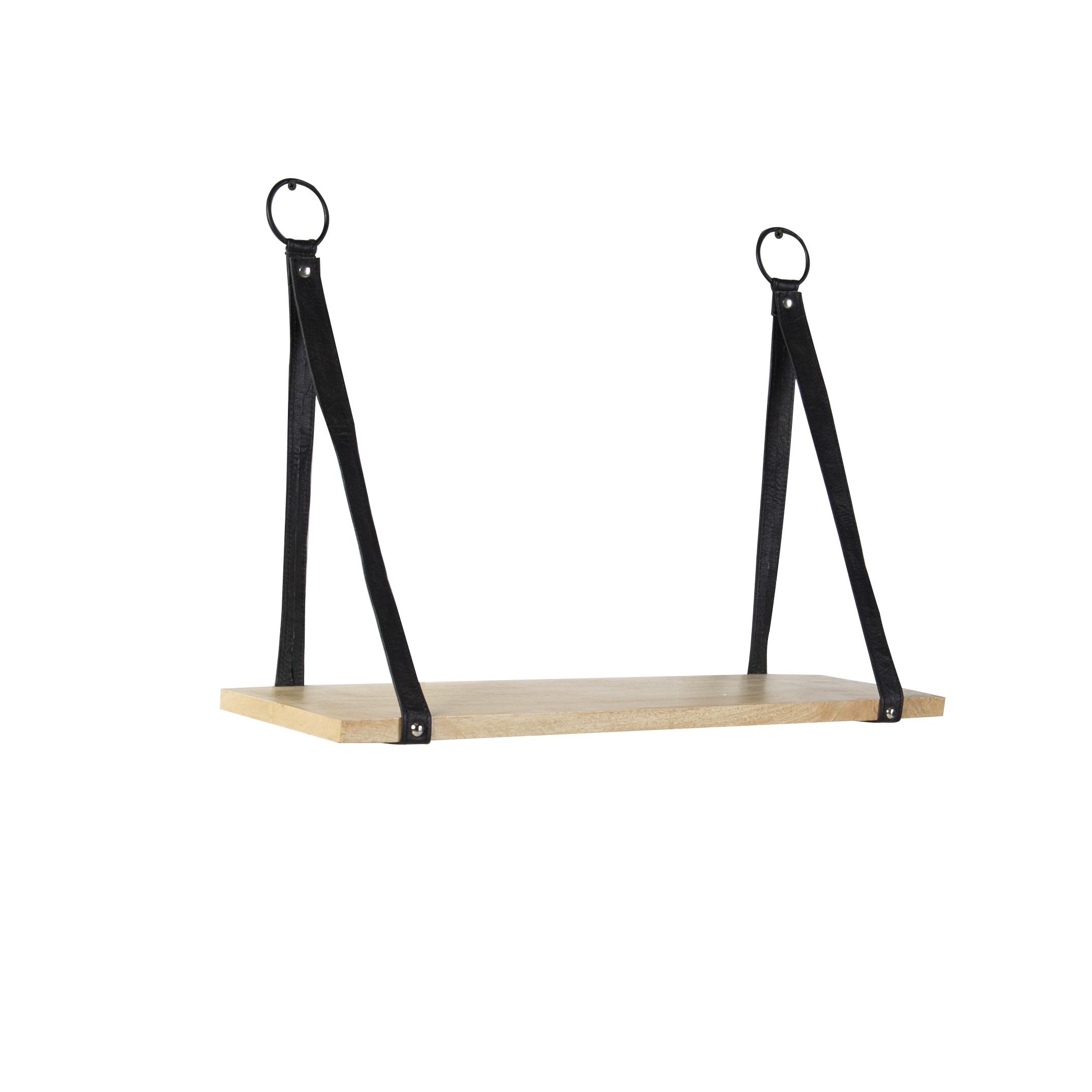 Industrieel wandrek met 1 houten plank en zwarte lederen riemen - Swing