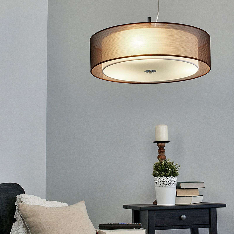 Landelijke hanglamp bruin 50 cm incl. LED - Pikka