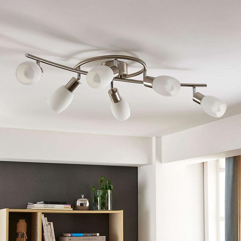 Plafondlamp chroom incl. E14 en easydim 6-lichts verstelbaar- Arda