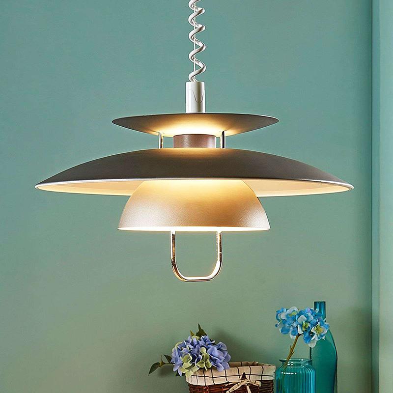 Scandinavische hanglamp grijs incl. E27 LED - Nadija