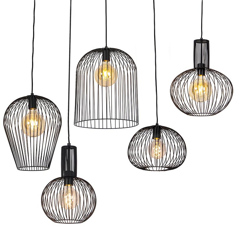 Set van 5 design hanglampen zwart - Wires