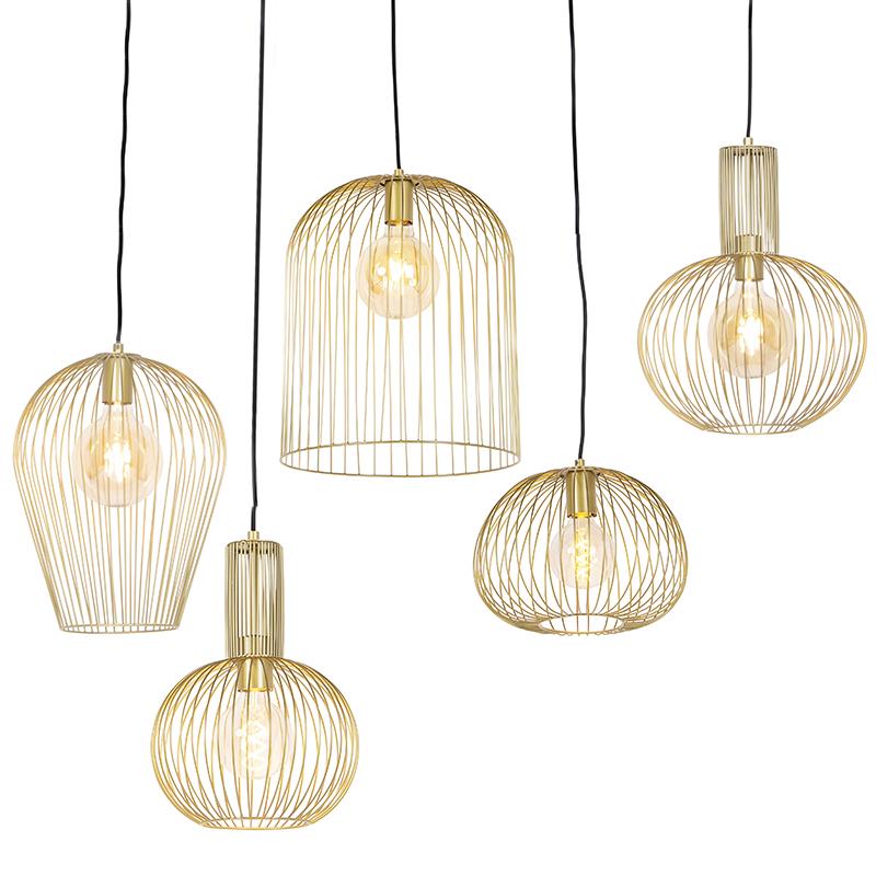 Set van 5 design hanglampen goud - Wires