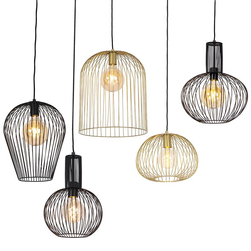 Set van 5 design hanglampen zwart en goud - Wires
