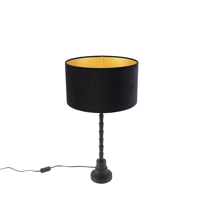 Art deco tafellamp met velours kap zwart 35 cm - Pisos