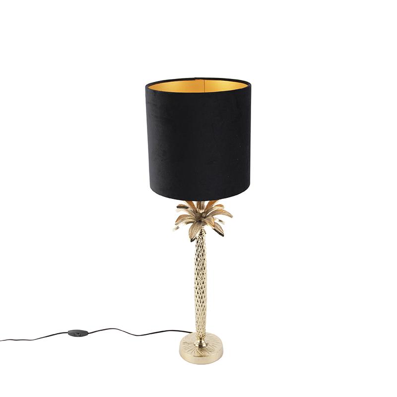 Art deco tafellamp met velours kap zwart 25 cm - Areka