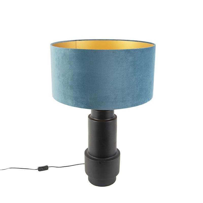 Art deco tafellamp met velours kap blauw 50 cm - Bruut