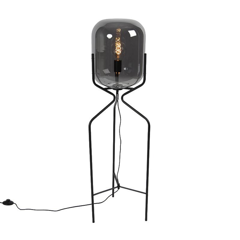 Designerska lampa podłogowa czarna przydymione szkło - Bliss